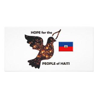 Espere la población de Haití - bandera Tarjeta Fotográfica Personalizada