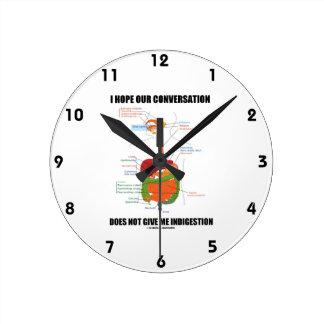 Espere que nuestra conversación no me dé la indige reloj redondo mediano