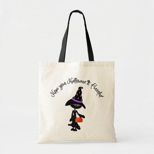 Espere que su Halloween sea bolso de Purrfect Bolsa Tela Barata