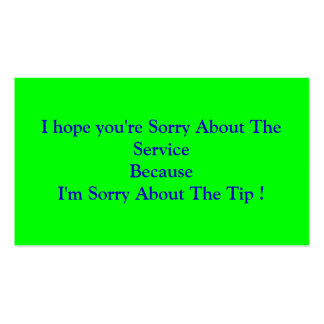 Espero que usted lo sienta sobre el ServiceBecause Plantilla De Tarjeta De Visita