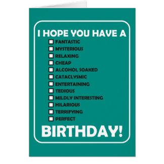 Espero que usted tenga A… Cumpleaños Tarjeta De Felicitación