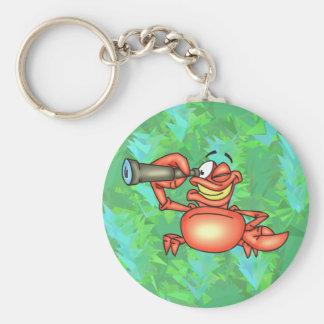 Espía divertido del cangrejo llavero redondo tipo pin