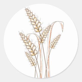 espigas de trigo pegatina redonda