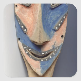 Espigue la máscara, de Ile de Vao, Nueva Caledonia Pegatina Cuadrada