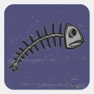 espina de pez del grunge pegatina cuadrada