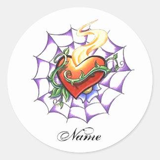 Espina del corazón y tatuaje frescos del Web de Pegatina Redonda