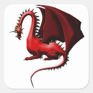 Espina, el dragón rojo pegatina cuadrada