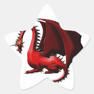 Espina, el dragón rojo pegatina en forma de estrella