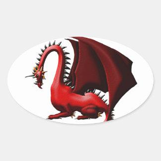 Espina, el dragón rojo pegatina ovalada