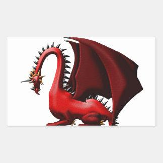 Espina, el dragón rojo pegatina rectangular