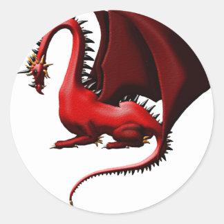 Espina, el dragón rojo pegatina redonda