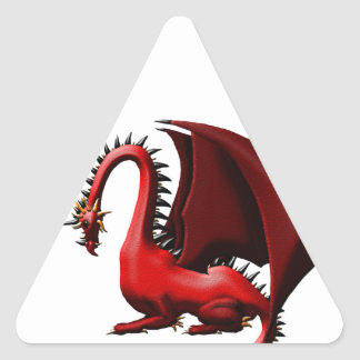 Espina, el dragón rojo pegatina triangular