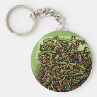 Espinas de la serpiente llavero redondo tipo pin