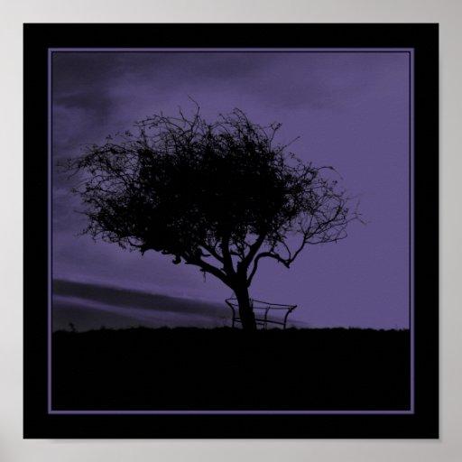 Espino de Glastonbury. Árbol en la colina. Negro p Impresiones