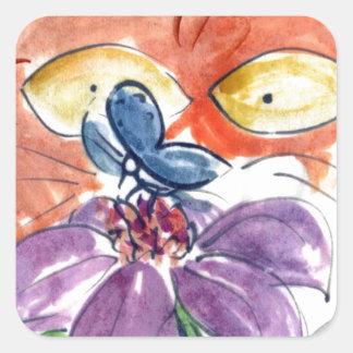 Espío una mariposa…. calcomanía cuadradas personalizadas