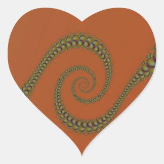 Espiral a torcer en espiral pegatina del corazón