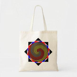 Espiral azul amarillo rojo de Kenneth Yoncich Bolsa Tela Barata