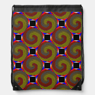 Espiral azul amarillo rojo de Kenneth Yoncich Mochila