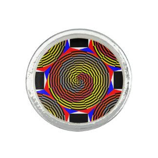 Espiral azul amarillo rojo anillos con foto