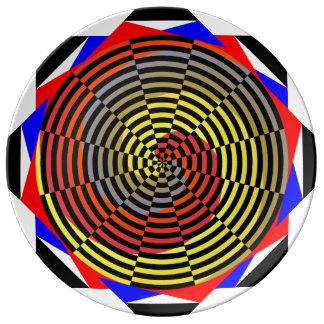 Espiral azul amarillo rojo plato de cerámica