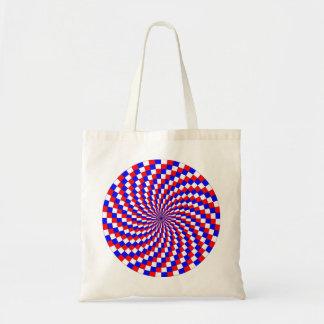 Espiral azul blanco rojo de Kenneth Yoncich Bolsa Tela Barata