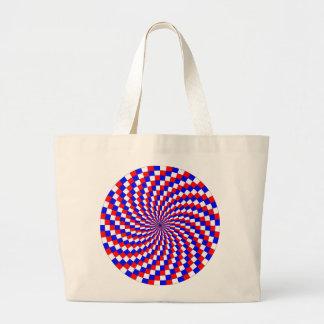 Espiral azul blanco rojo de Kenneth Yoncich Bolsa Tela Grande