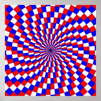Espiral azul blanco rojo de Kenneth Yoncich Póster