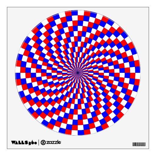 Espiral azul blanco rojo de Kenneth Yoncich Vinilo Decorativo