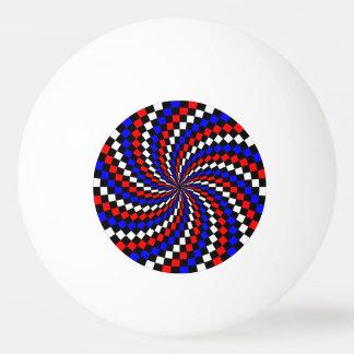 Espiral azul blanco rojo del inspector pelota de tenis de mesa