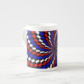 Espiral azul blanco rojo del inspector taza de porcelana