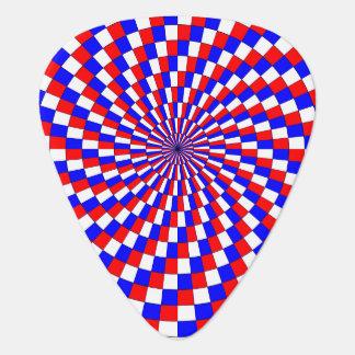 Espiral azul blanco rojo plumilla de guitarra