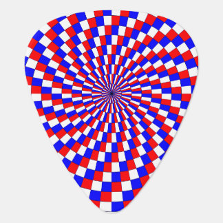 Espiral azul blanco rojo uñeta de guitarra