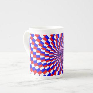Espiral azul blanco rojo taza de porcelana