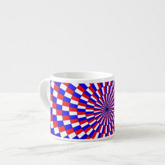 Espiral azul blanco rojo taza espresso