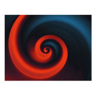 Espiral azul rojo tarjeta postal