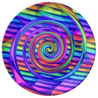 Espiral brillante estupendo del arco iris con dise plato de cerámica