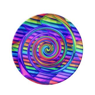 Espiral brillante estupendo del arco iris con dise platos de cerámica