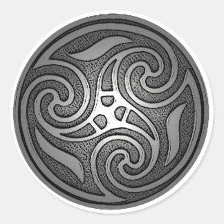 Espiral céltico pegatina redonda