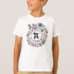 Espiral colorido de dígitos del pi playeras