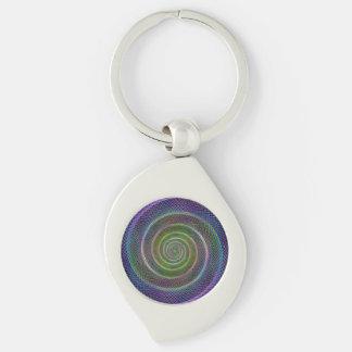 Espiral colorido del fractal llavero plateado en forma de espiral