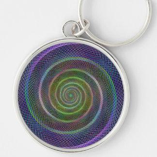 Espiral colorido del fractal llavero redondo plateado