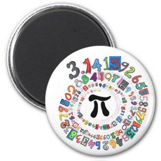 Espiral colorido del pi calculado imán redondo 5 cm