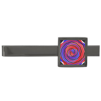 Espiral contrario rojo y azul alfiler de corbata plomizo