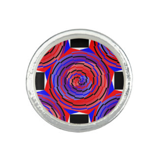 Espiral contrario rojo y azul de Kenneth Yoncich Anillos Con Foto