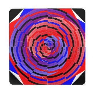 Espiral contrario rojo y azul de Kenneth Yoncich Posavasos De Puzzle