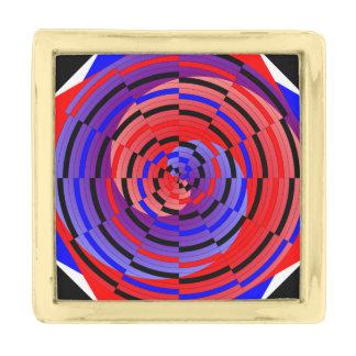 Espiral contrario rojo y azul insignia dorada