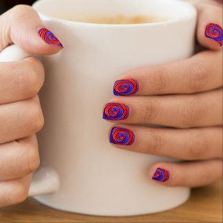 Espiral contrario rojo y azul pegatinas para uñas