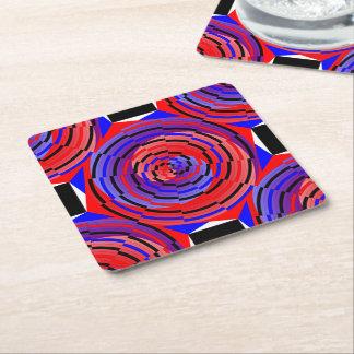 Espiral contrario rojo y azul posavasos de cartón cuadrado