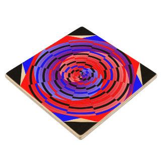 Espiral contrario rojo y azul posavasos de madera