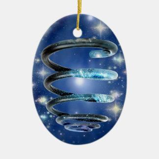 Espiral cósmico adorno ovalado de cerámica